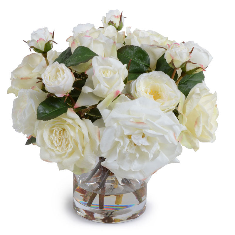 Rose Bouquet in Glass - White