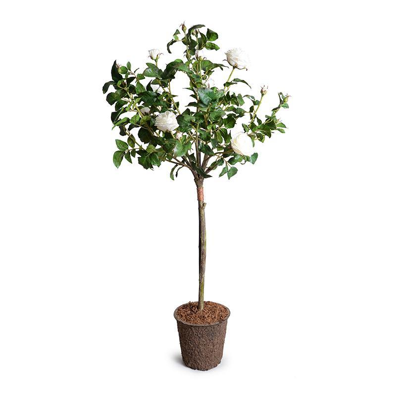Rose Tree Topiary With White Flowers 56""