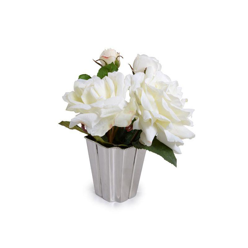 Roses in Nickel Vase - White - New Growth Designs