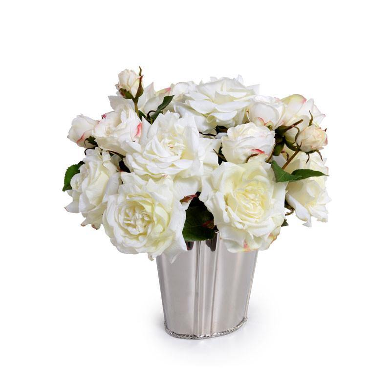 White Faux Fresh Rose Bouquet