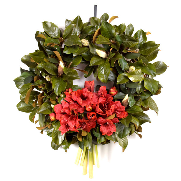 Amaryllis Wreath Bouquet, Red
