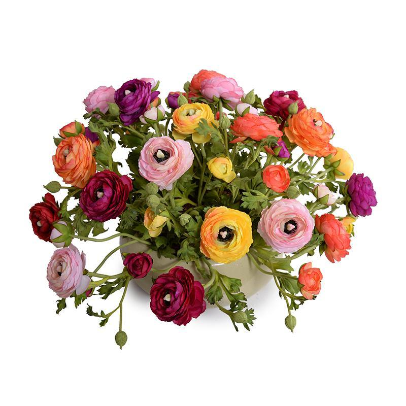 Ranunculus Centerpiece in Green Glazed Bowl - Mixed