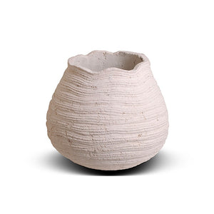 "Ribbed Concrete Urn - 9""D"