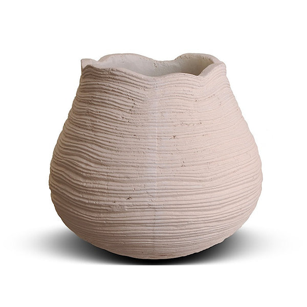 Ribbed Concrete Urn