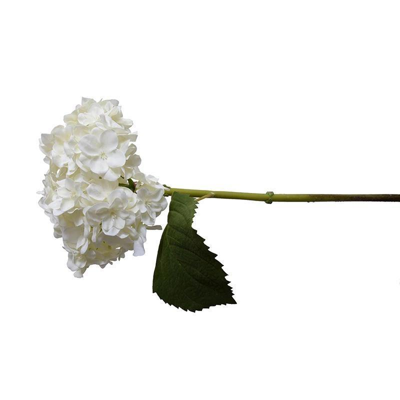 Hydrangea Stem with Leaf - White
