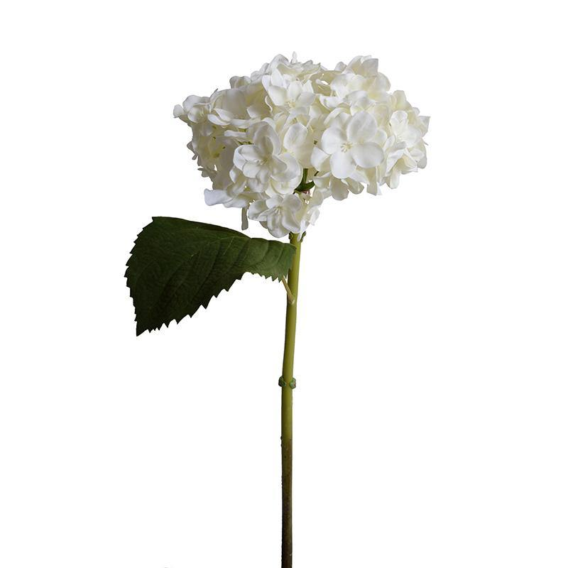 "Hydrangea Stem with Leaf, 18"" L - White"
