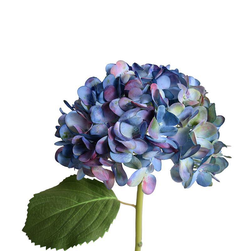"Hydrangea Stem with Leaf, 19"" L - Blue"