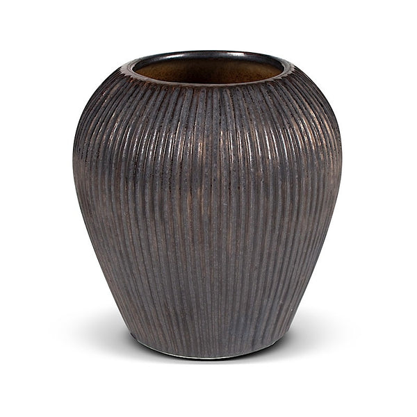 Ceramic Vase - Ribbed Bronze - New Growth Designs