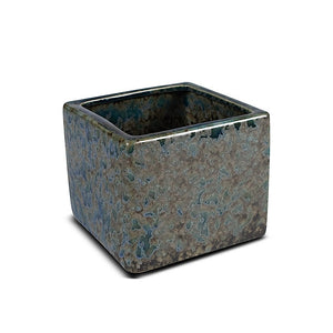Ceramic Vase - Teal Cube - New Growth Designs