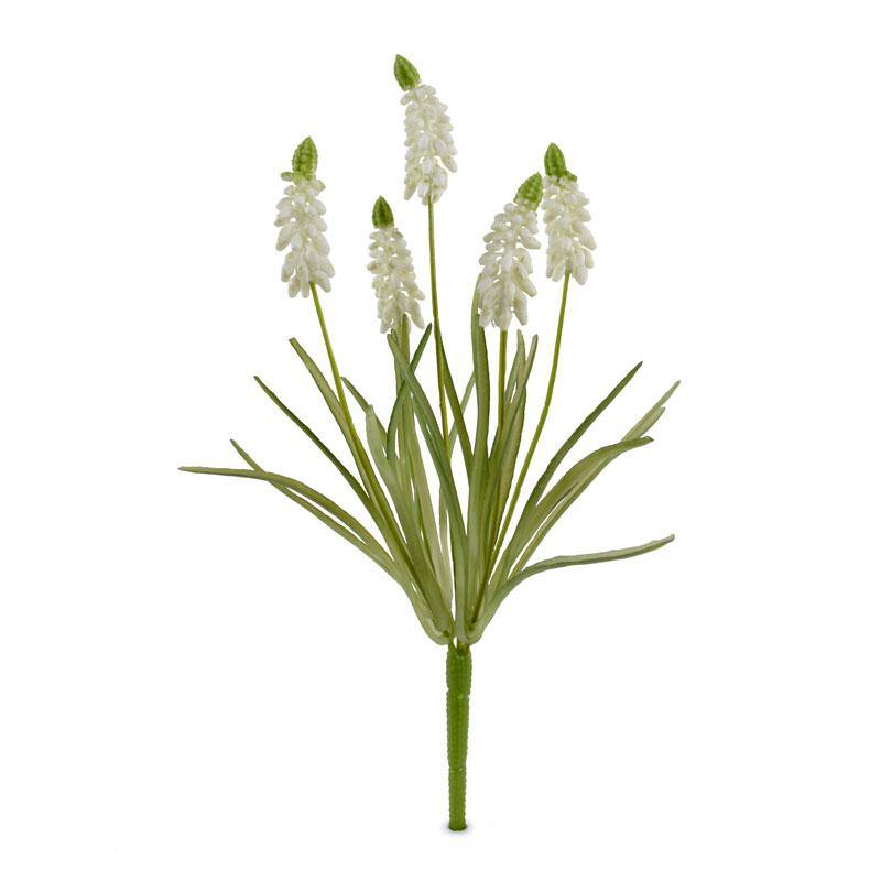 "Grape Hyacinth Spray, 12.5""L - White - New Growth Designs"