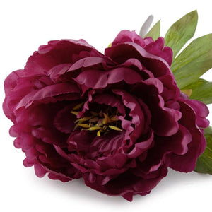 "Peony Stem with Leaves, 18"" - Dark Fuchsia - New Growth Designs"