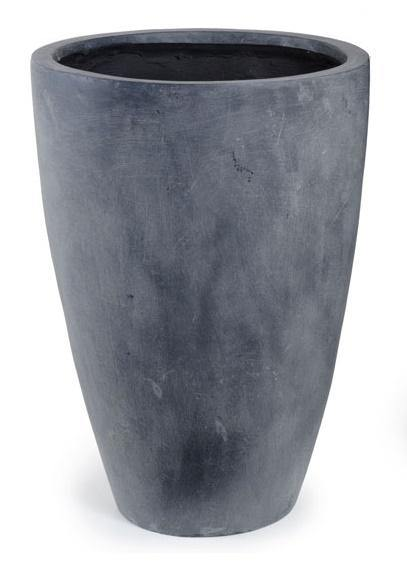 "Fiberglass Tapered Cylinder Planter with Lead Finish - 18""D"