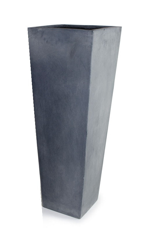 "Fiberglass Tapered Column Planter with Lead Finish - 14.5""W"