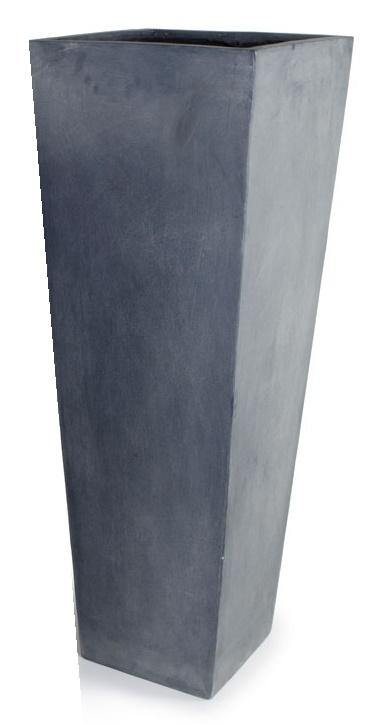 "Fiberglass Tapered Column Planter with Lead Finish - 15.5""W"