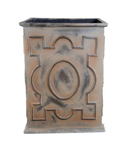 "Decorative Fiberglass Column Planter with Bronze Finish - 20""W"