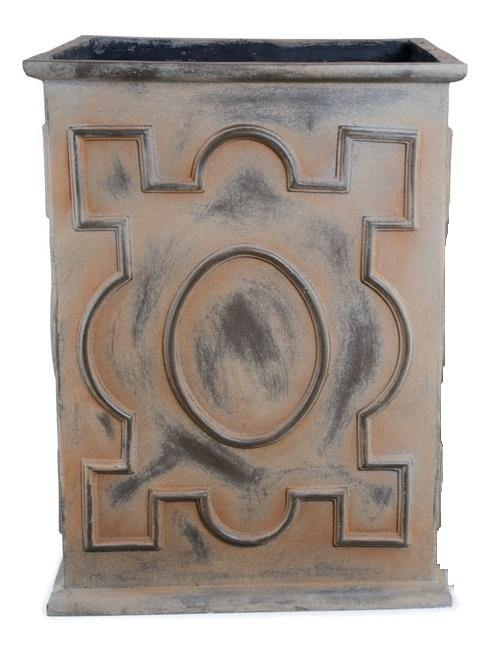 "Decorative Fiberglass Column Planter with Bronze Finish - 24""W"