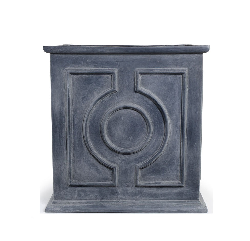 "Decorative Fiberglass Cube Planter with Lead Finish - 16""W"