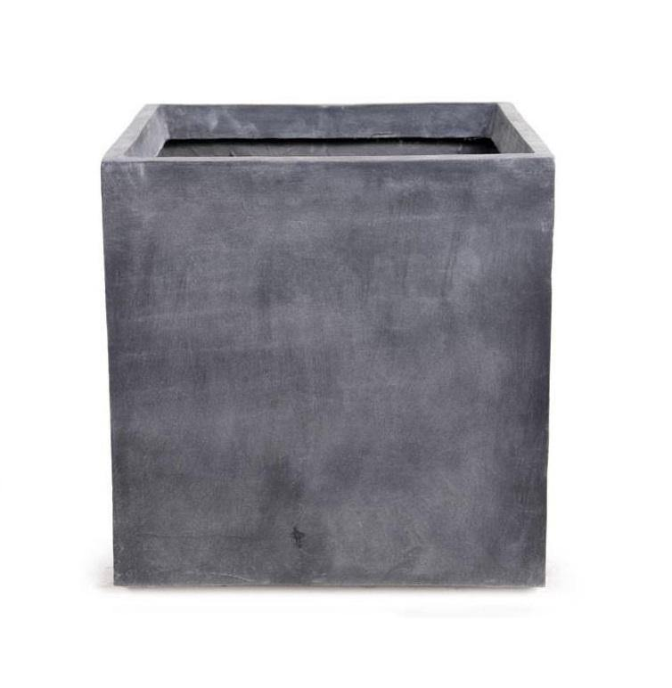 "Fiberglass Cube Planter with Lead Finish - 16""W"