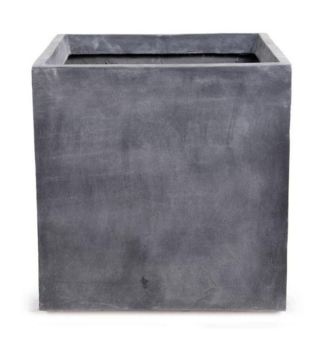 "Fiberglass Cube Planter with Lead Finish - 20""W"