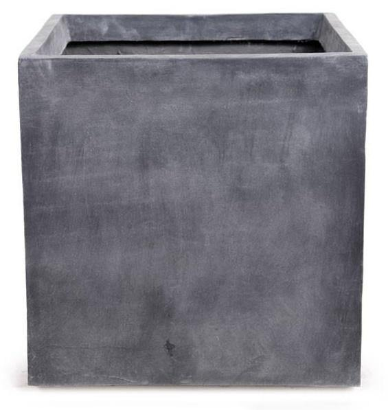 "Fiberglass Cube Planter with Lead Finish - 24""W ..."