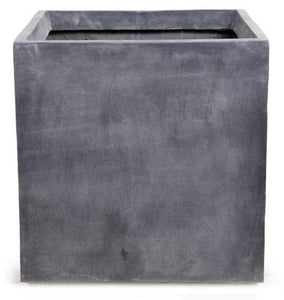 "Fiberglass Cube Planter with Lead Finish - 24""W"