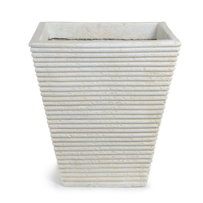 "Square Ribbed Fiberglass Tree Planter - 24""W - New Growth Designs"