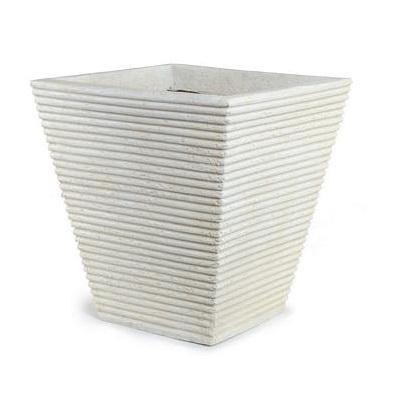 "Square Ribbed Fiberglass Tree Planter - 19"" W"