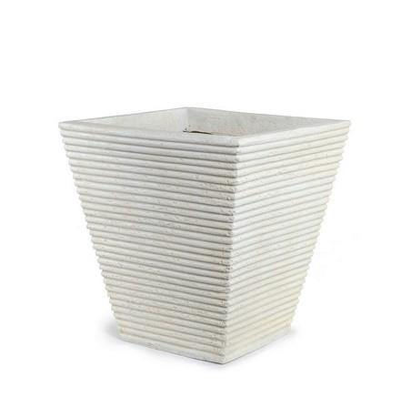 "Square Ribbed Planter - 16"" W"