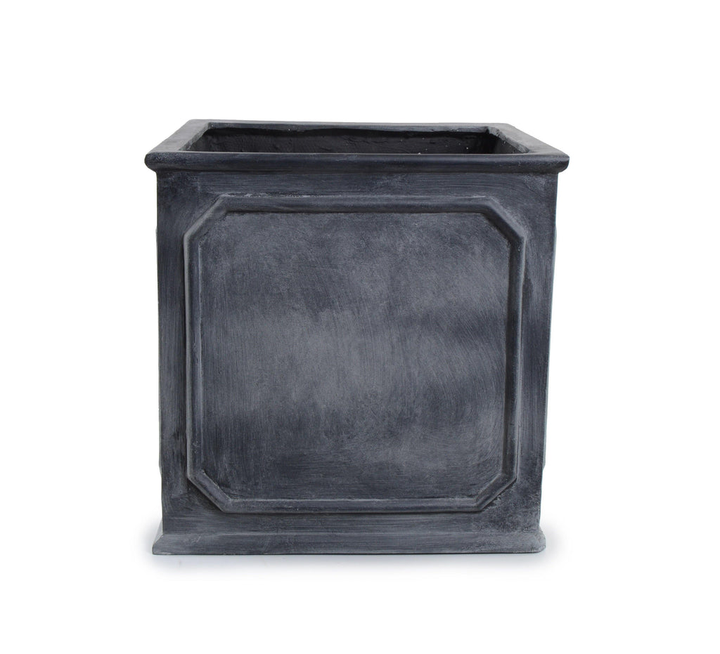 "Bordered Fiberglass Cube Planter with Lead Finish - 12""W"
