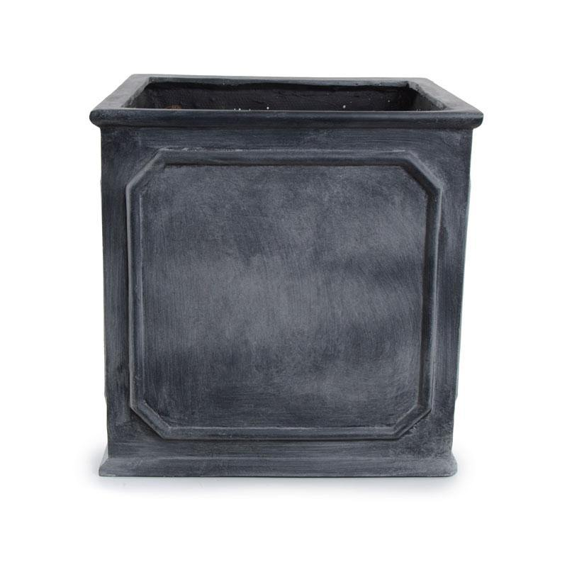 "Bordered Fiberglass Cube Planter with Lead Finish - 16""W"