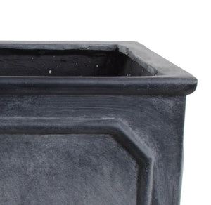 "Bordered Fiberglass Cube Planter with Lead Finish - 24""W - New Growth Designs"