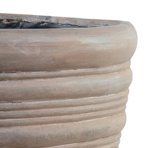 "Ribbed Fiberglass Tapered Cylinder with Bronze Finish - 22""D"