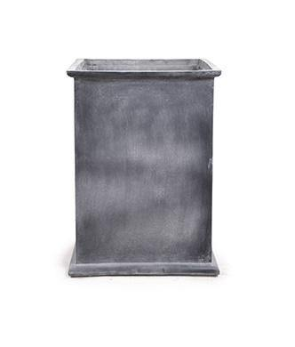 "Fiberglass Column Planter with Lead Finish and Lip - 20""W"