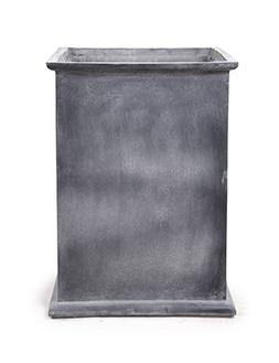 "Fiberglass Column Planter with with Lead Finish and Lip - 24""W"