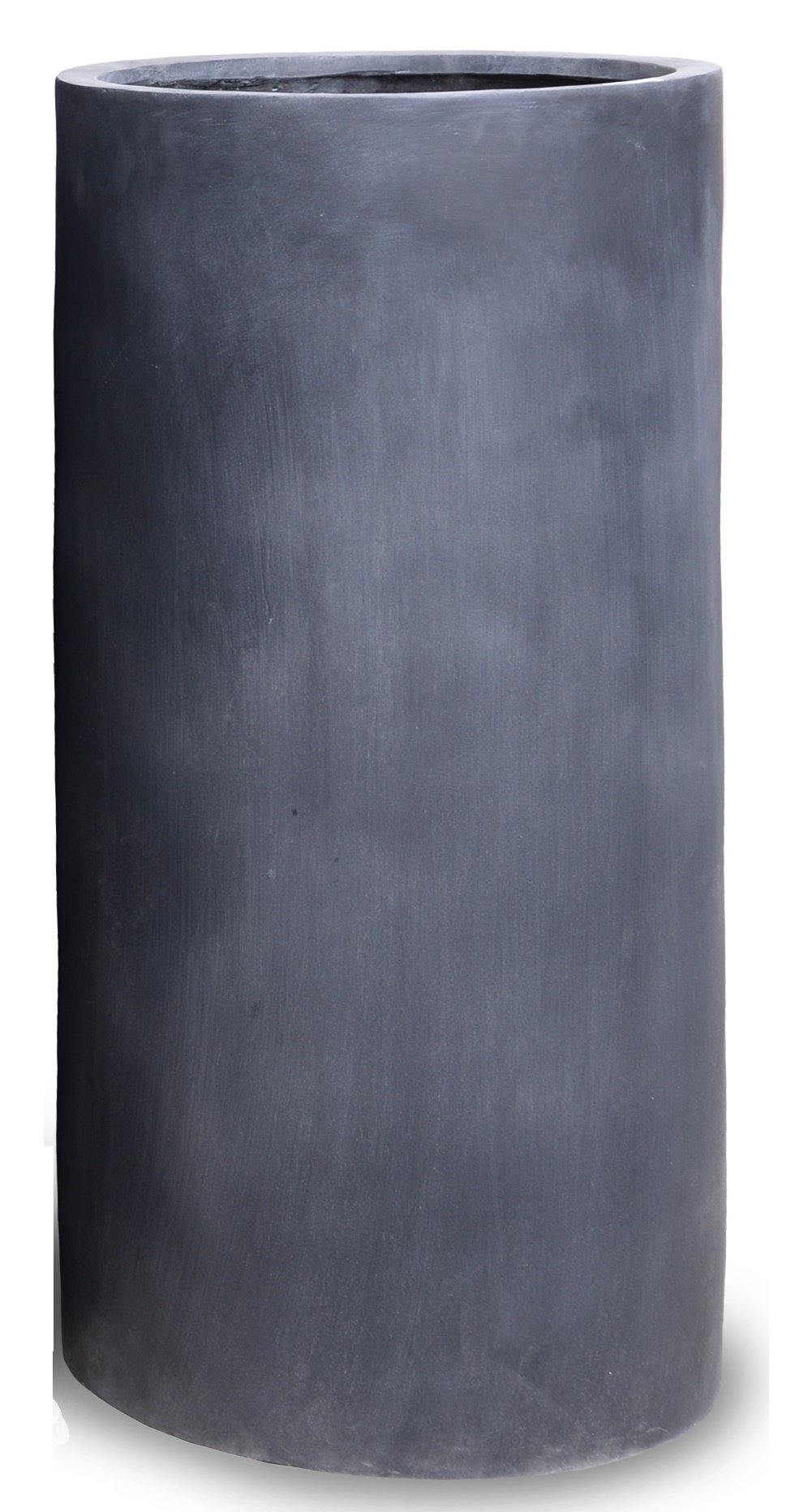 "Fiberglass Cylinder Planter with Lead Finish - 20""W"