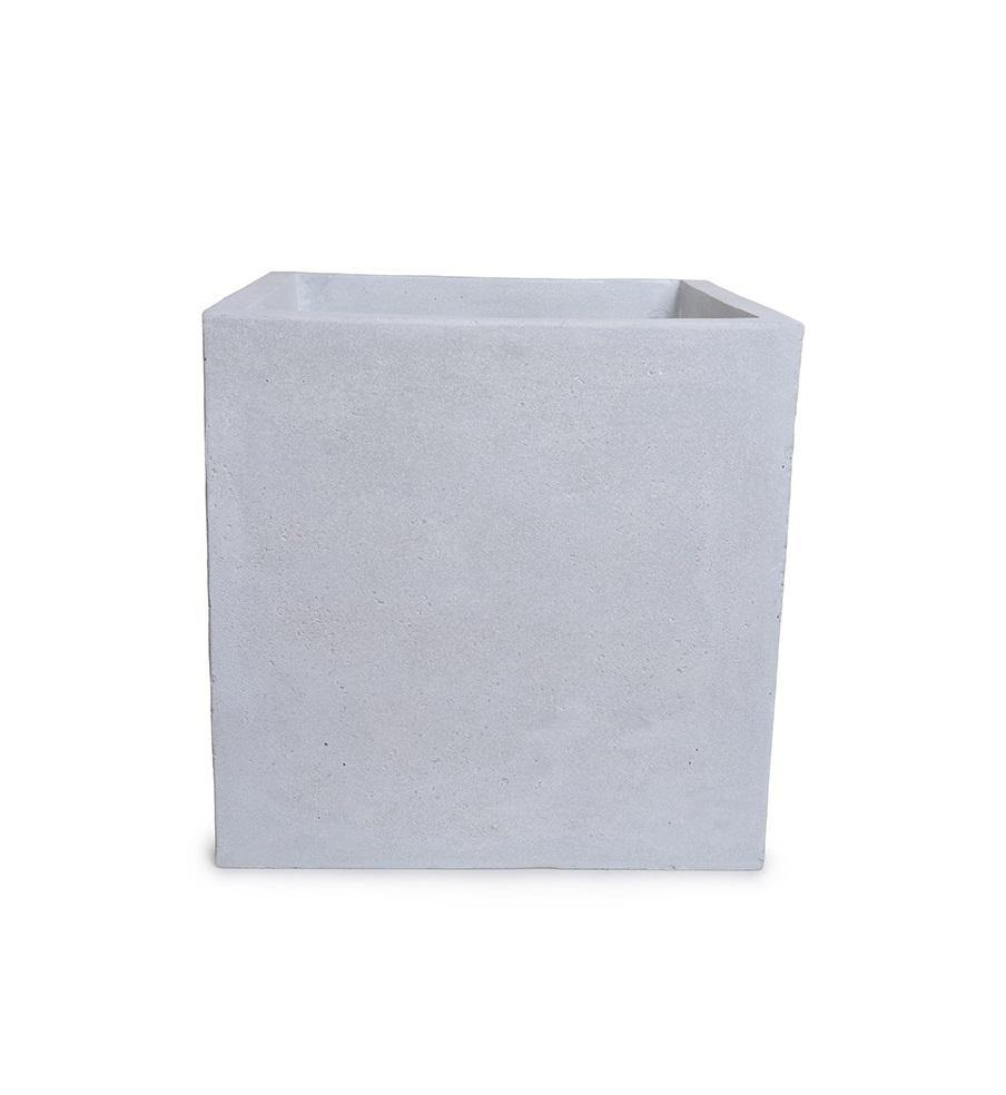 "Fiberglass Cube Planter with Concrete Finish - 12""W"