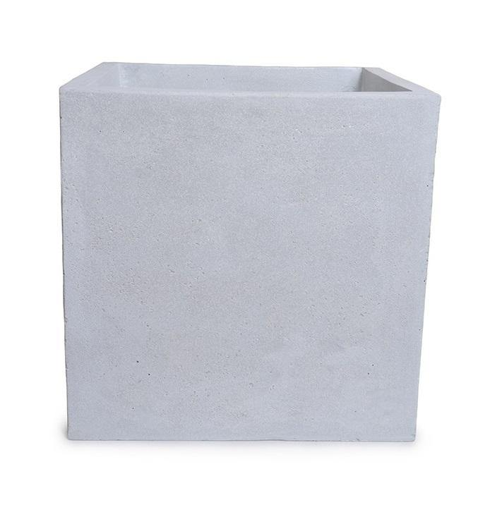 "Fiberglass Cube Planter with Concrete Finish - 20""W"