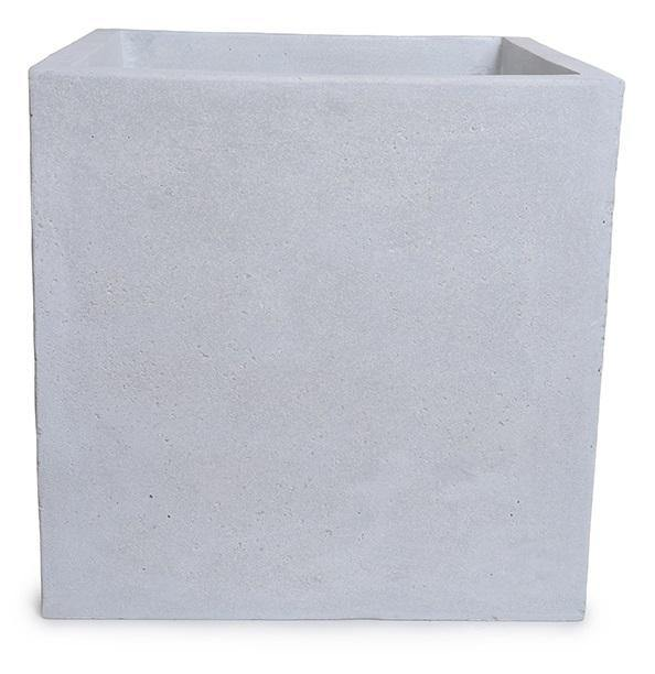 "Fiberglass Cube Planter with Concrete Finish - 24""W"