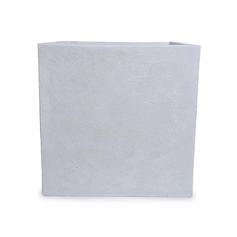 "Fiberglass Cube Planter with Concrete Finish - 16""W"
