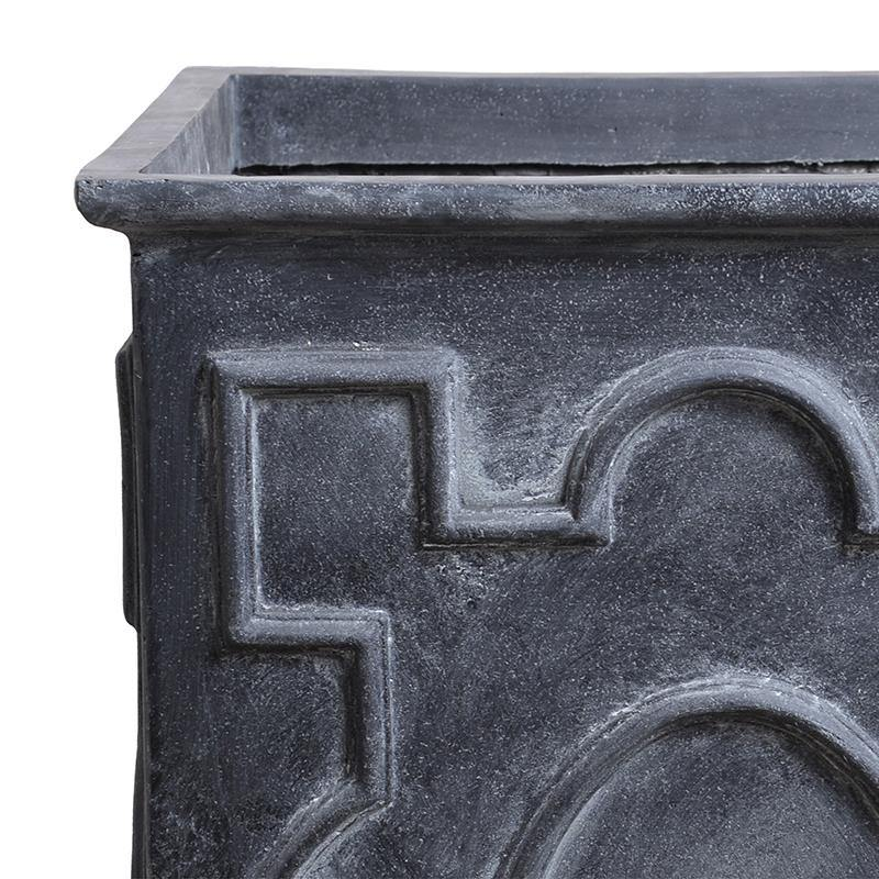 "Decorative Fiberglass Column Planter with Lead Finish - 24""W"