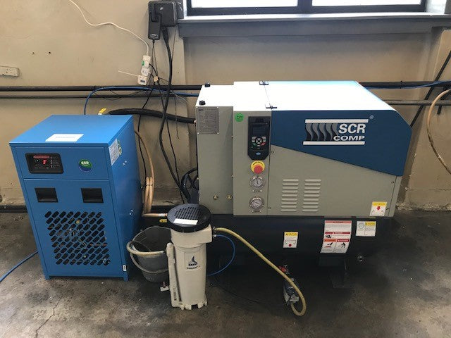 new EDC air compressor installation of an SCR PM air compressor and dryer