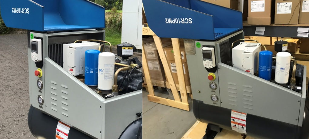 scr air compressor fitrted with an ABB ACS480 drive
