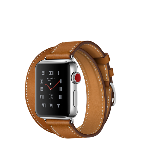 Apple Watch Hermès Stainless Steel Case with Fauve Barenia Leather Double Tour - GPS + CELLULAR - MediaCenter