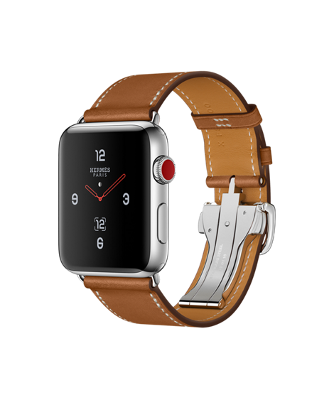 Apple Watch Hermès Stainless Steel Case with Fauve Barenia Leather Single Tour Deployment Buckle - GPS + CELLULAR