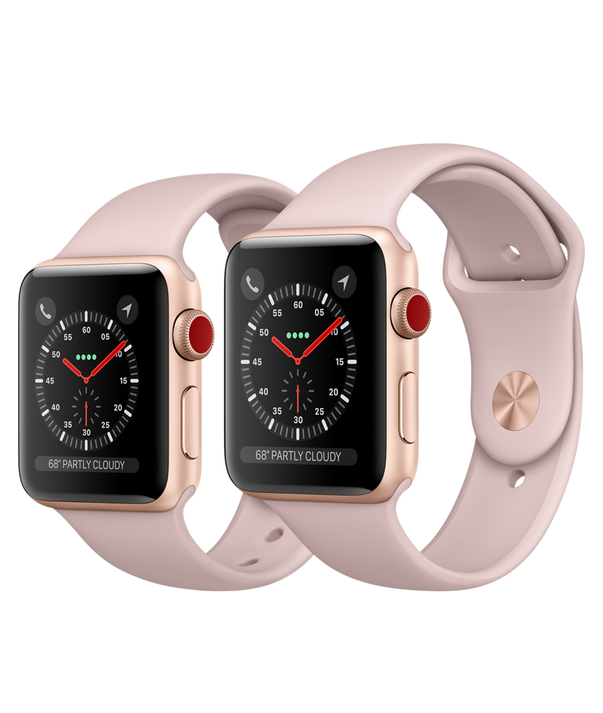 Apple Watch Series 3 - Gold Aluminum Case with Pink Sand Sport Band - GPS + Cellular - MediaCenter