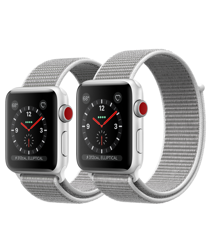 Apple Watch Series 3 - Silver Aluminum Case with Seashell Sport Loop - GPS + Cellular - MediaCenter