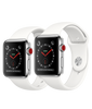 Apple Watch Series 3 - Stainless Steel Case with Soft White Sport Band - GPS + Cellular - MediaCenter