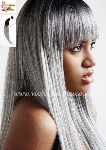 "8"" 1B/Grey Ombre Straight 8A Grade Virgin Hair"