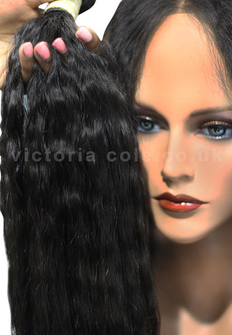 "Mongolian Kinky Straight 8"" Virgin Hair Extensions - 12A"
