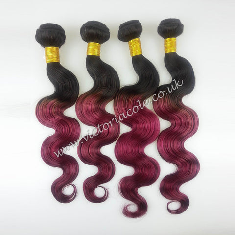 "Peruvian body wave ombre 1B/99J Fuschia Pink 14"" Virgin Hair Extensions"